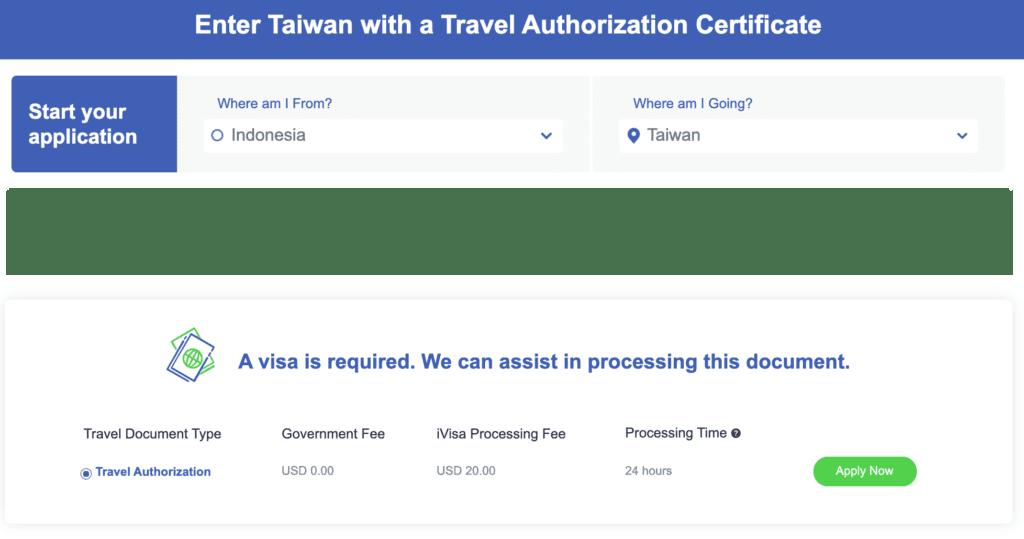 visa Taiwan paspor Indonesia