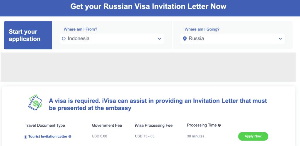 invitation russian paspor indonesia