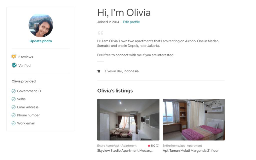 Bisnis Airbnb Olivia